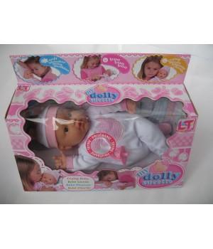 Пупс с мягким телом 37 см My Dolly sucette в бело-розовой одежде