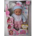 Пупс писающий резиновый 43 см девочка с волосами Le bebe в розовой одежде с аксессуарами