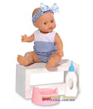 Пупс писающий резиновый Le Petit bebe в голубой одежде