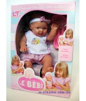 Пупс большой писающий резиновый Le  bebe в розовой одежде с аксессуарами