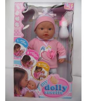 Пупс с мягким телом 37 см My Dolly sucette в розовой одежде Loko Toys - 1