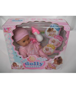 Пупс с мягким телом 37 см My Dolly sucette с двумя функциями в розовой одежде