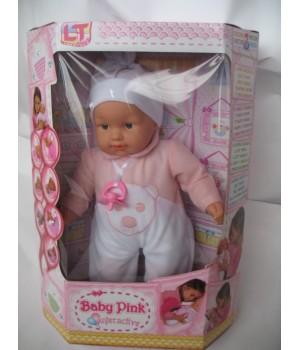Пупс большой с мягким телом 45 см Baby Pink interactive в розовой одежде