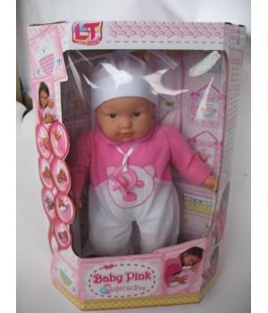 Пупс большой с мягким телом 45 см Baby Pink interactive в ярко-розовой одежде