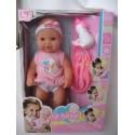 Пупс писающий резиновый 43 см девочка Le bebe в розовой одежде с аксессуарами
