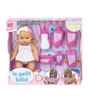 Пупс писающий резиновый девочка Le Petit bebe в розовой одежде с аксессуарами