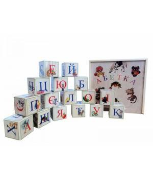 Деревянные кубики с Украинским алфавитом. K16ukr