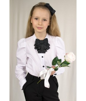 Блуза с длинным пышным рукавом и брошью-бантом р122