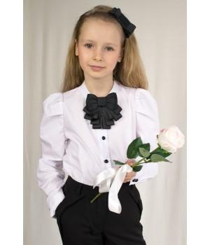 Блуза с длинным пышным рукавом и брошью-бантом р128