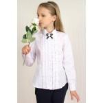 Блуза с жабо, брошью и стойкой фестоны р152