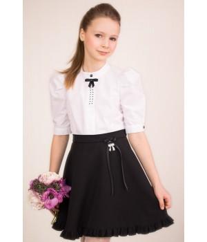 Блуза с пышным рукавом, декоративным бантиком и стразами р134