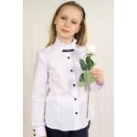 Блуза с длинным рукавом, брошью и декоративными оборками р158