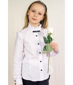 Блуза с длинным рукавом, брошью и декоративными оборками р140