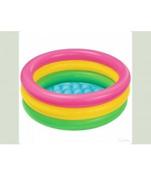 Бассейн Интекс Intex 57107 33 л., 61-22 см., 3 кольца, ремкомплект, надув. дно, кор., 17-14,5-5,5 см.