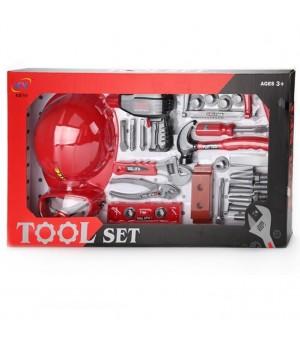 Набор игрушечных инструментов строителя с каской 34 шт