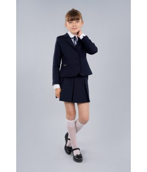 Жакет школьный Sasha 4016-1 приталенный на девочку на подкладке с застежкой на пуговицы синий р134