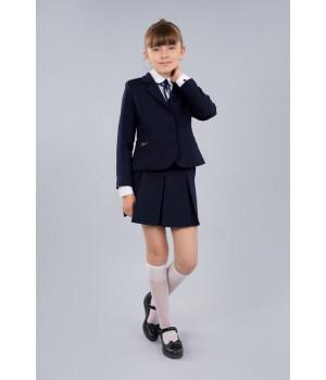 Жакет школьный Sasha 4016-1 приталенный на девочку на подкладке с застежкой на пуговицы синий р140 Sasha - 1