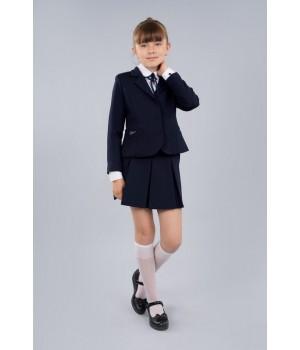 Жакет школьный Sasha 4016-1 приталенный на девочку на подкладке с застежкой на пуговицы синий р152