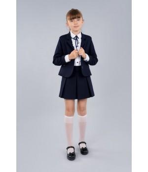 Юбка Sasha 3954 в складку для девочки синяя, комфортная и стильная р140