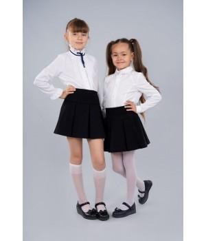 Блуза белая Sasha 3430 стильная для девочки, декор стразами и контрастной лентой р128