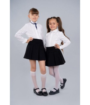 Блуза белая Sasha 3430 стильная для девочки, декор стразами и контрастной лентой р134 Sasha - 1
