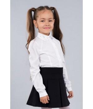 Блуза белая Sasha 3462 стильная для девочки, воротник декорирован стразами р140