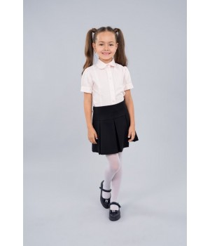 Блуза Sasha 3625-1 стильная розовая для девочки с коротким рукавом, декор прошвой р128