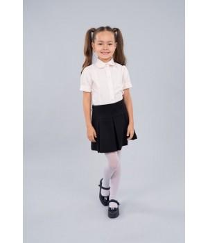 Блуза Sasha 3625-1 стильная розовая для девочки с коротким рукавом, декор прошвой р140