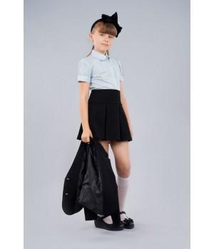 Блуза Sasha 3625-2 стильная голубая для девочки с коротким рукавом, декор прошвой р128