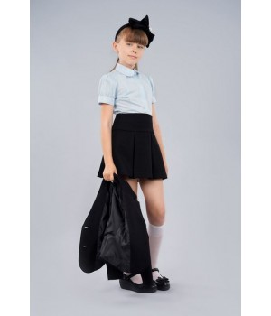 Блуза Sasha 3625-2 стильная голубая для девочки с коротким рукавом, декор прошвой р134
