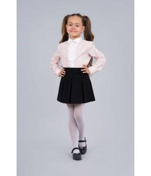 Блуза Sasha 3674-1 стильная розовая для девочки декор прошвой и жабо р128