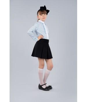 Блуза Sasha стильная голубая 3674 для девочки декор прошвой и жабо р140