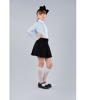 Блуза Sasha стильная голубая 3674 для девочки декор прошвой и жабо р152