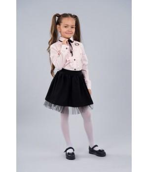 Блуза Sasha 3441-2 розовая стильная хлопковая декор рюшем и контрастной лентой р122