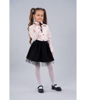 Блуза Sasha 3441-2 розовая стильная хлопковая декор рюшем и контрастной лентой р128