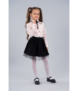 Блуза Sasha 3441-2 розовая стильная хлопковая декор рюшем и контрастной лентой р134