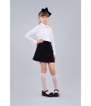 Блуза школьная Sasha белая 3437 хлопковая для девочки, декор вышивкой р128