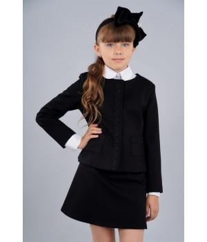 Жакет Sasha школьный 3960 из джерси на подкладке с накладными карманами, декорирован тесьмой в тон р152 черный