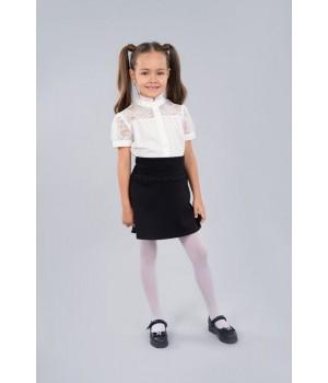 Блуза Sasha красивая хлопковая 3444-1 для девочки, декор кружевом р152 молочная