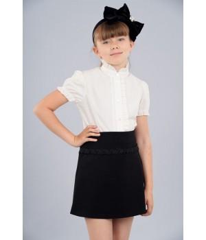 Блуза Sasha 3451-1 хлопковая для девочки, декор прошвой р128 молочная