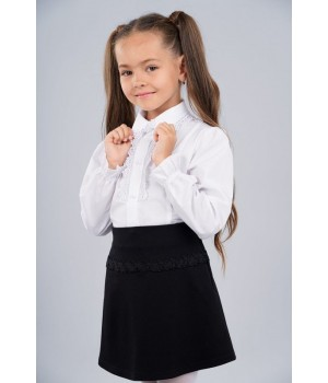 Блуза Sasha для девочки с длинным рукавом, декор кружевом 3438 р140 белая