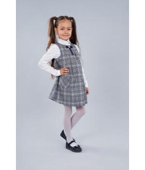 Сарафан школьный Sasha 3911 декорирован репсовой лентой для девочки р128 клетка