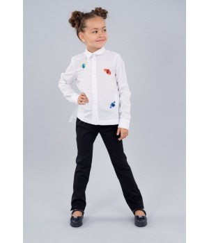 Блуза стильная Sasha для девочки с длинным рукавом, декор камнями и вышивкой 4004 белая р 152