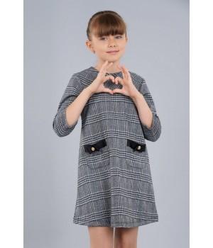Стильное платье Sasha для девочки с накладными карманами 3964-1 клетка р 128