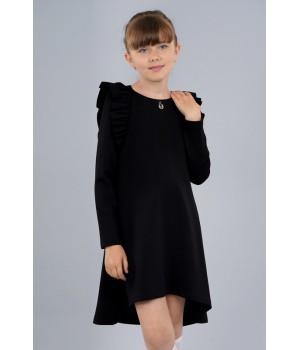 Платье Sasha из джерси с длинным рукавом, декор воланами 3975 черное р140