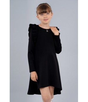 Платье Sasha из джерси с длинным рукавом, декор воланами 3975 черное р152