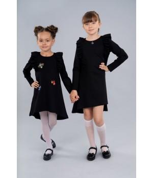 Платье Sasha из джерси с длинным рукавом, декор камнями и вышивкой 4039 черное р122