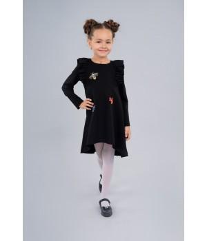 Платье Sasha из джерси с длинным рукавом, декор камнями и вышивкой 4039 черное р128