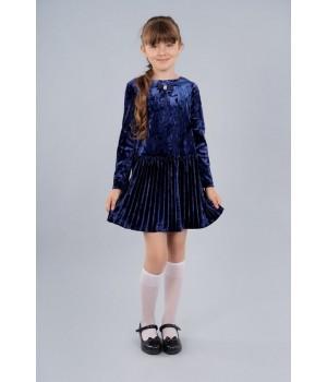 Стильное платье Sasha для девочки с плисерованной юбкой из велюра 4014 синее р158