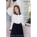 Блуза школьная Zemal DL1-055-01-23 белая с темно синим р34